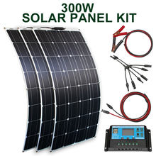 Zestaw paneli słonecznych 300w 200w 100w elastyczne panele słoneczne 12v 24v o wysokiej wydajności moduł ładowarki do akumulatorów