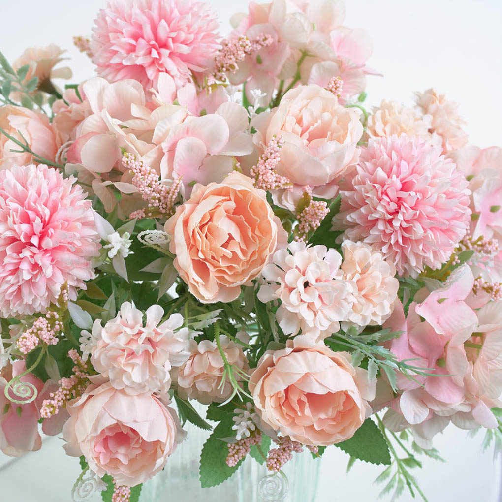 Kunstmatige Rose Bloem Anjer Pioen Thee Zak Daisy Tafel Bureau Decoratie Nep Rose Boeket Bruiloft Bloemen Decoratie