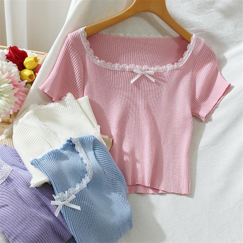 2020 Summer Thin Knit Crop Top Pink White T Shirt Women Short Sleeve Solid Tshirt Korean Sweet Cute T-shirt Camisetas Mujer 1
