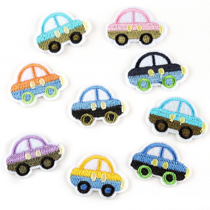 Cartoon Car Patches Iron on Patches for Clothing Stripes Badges Stickers on Clothes for Kids DIY Appliques Embroidered Patches G