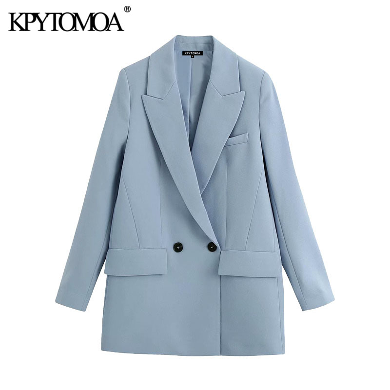 KPYTOMOA Women 2020 Fashion Office Wear Double Breasted Blazers Coat Vintage Pockets Loose Fitting Female Outerwear Chic Tops