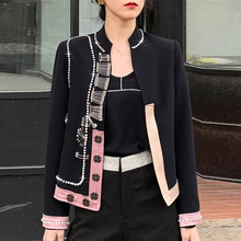 Fall Winter New Fashion 2019 Runway Women #8217 s Jackets and Coats Full Sleeve Buttons Diamonds Patchwork Pin Black Blazer Outerwear cheap bailansi Short MANDARIN COLLAR NONE Blazers COTTON Polyester 19908 Office Lady Beading Solid