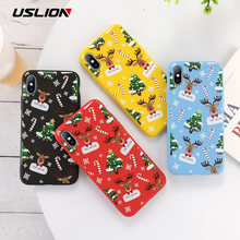 USLION Cartoon Christmas Case For iPhone 11 Pro Max 7 8 6 6S Plus Santa Claus Soft Phone Case For iPhone XR X Xs Max TPU Cover(China)