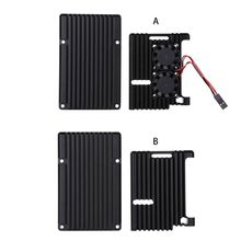 цена на Aluminum Alloy Enclosure Case Metal Shell Black Box Radiating Plate Heatsink Cooler for Raspberry Pi 4 Model B