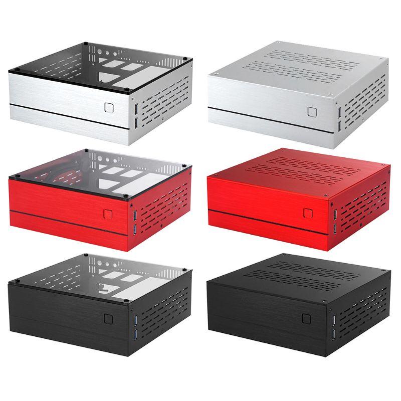 B01 Mini ITX Computer Case Chassis Aluminum/Glass Briefcase Home Theater AC-DC HTPC Computer Box Desktop PC Enclosure 5