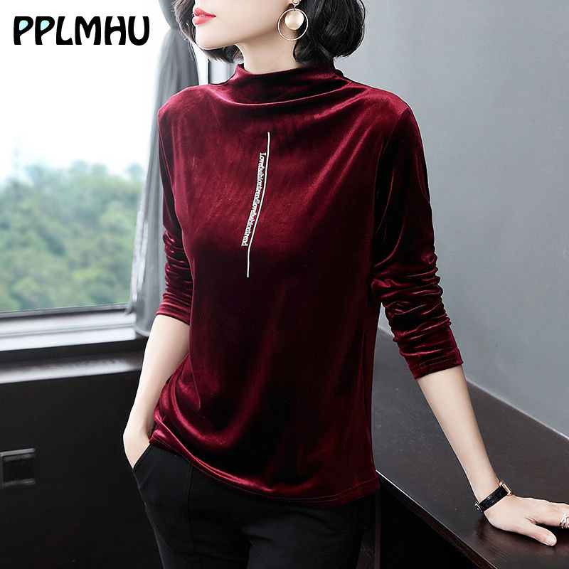 Sping Basic Turtleneck Velvet Slim White T Shirt Women Plus Size Casual Long Sleeve Solid Color Loose Tops Clothes 3XL Shirts