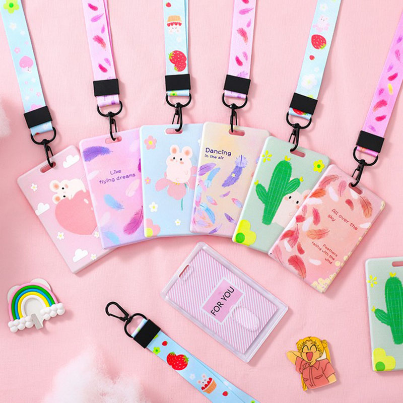 1 Pcs Kawaii Fashion Cactus Mouse Feather Bank Credit Card Holders Card Cover Students Bus ID Holders Cute Business Stationery
