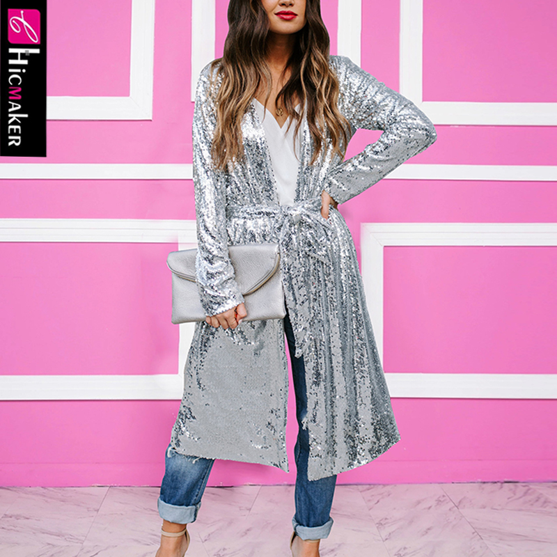 Women Plus Size Long Sleeve Sequined Top Solid Chic Glitter Spring Fall Long Cardigan Open Stitch Trench Coat