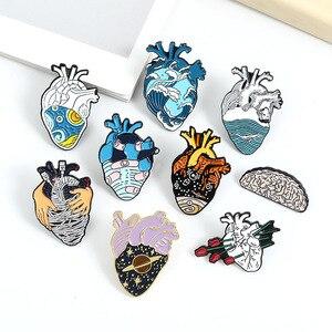 Эмалированные булавки в форме сердца 19style, медицинская анатомическая брошь, нейрология для врачей и медсестер, булавка для лацканов, Значки для сумок, подарки