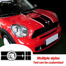 Car Hood Decal Engine Cover Trunk Rear Line Vinyl Decal Bonnet Stripe Sticker For MINI Countryman R60 Cooper S JCW Accessories car styling side racing stripes hood rear engine cover trunk vinyl decal sticker for bmw mini cooper countryman r60 2013 2016