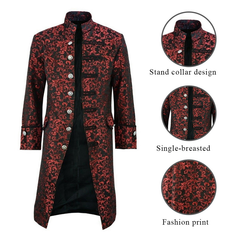 H899c7f3a1e9d4c648a91116a31509c34T HEFLASHOR Men Edwardian Steampunk Trench Coat Frock Outwear Vintage  Overcoat Medieval Jacket Cosplay Costume