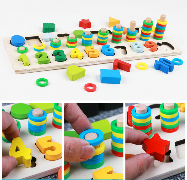 Купить с кэшбэком Children education Block 3 in 1 Digital logarithmic shape board Montessori teaching Wooden toys toddler learning block toys gift