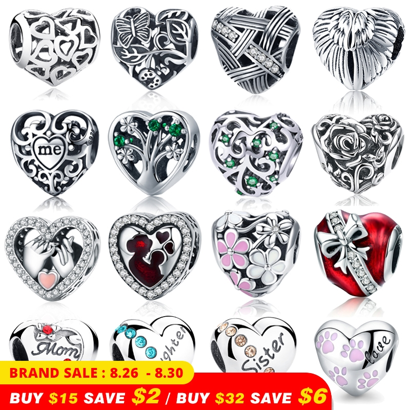 WOSTU Charm Beads Jewelry Bracelet Diy Heart-Shape Silver 925-Sterling-Silver Fit-Brand