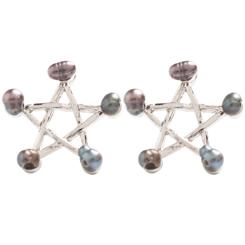 99 carat Pentagram star hollow out color special-shaped pearl embellishment small earrings simple delicate lovely earrings femal
