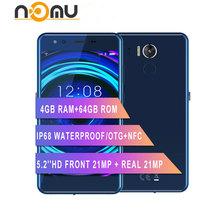 IP68 wodoodporna NOMU M8 4G Smartphone 4GB + 64GB 5 2 #8222 Android 7 0 MTK6750T Octa Core podwójny aparat 21 0MP + 21MP 2950mAh telefon komórkowy tanie tanio Nie odpinany Nowy 1280x720 Rozpoznawania linii papilarnych TYPE-C Do 150 godzin Szybkie ładowanie 3 0 2 karty SIM Smartfony