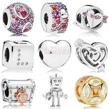 QANDOCCI Asymmetric Hearts Of Love Dice Arrow Pierces Loved Heart Rob Bot Charm Fit Pandora Bracelet 925 Sterling Silver Jewelry(China)