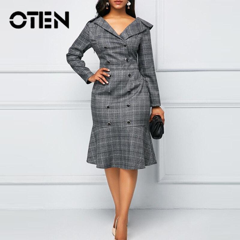 OTEN Women Dresses Office Wear Ladies Pencil Ruffle Plus Size 2019 Autumn New Plaid Double Button V-Neck Long Sleeves Midi Polo