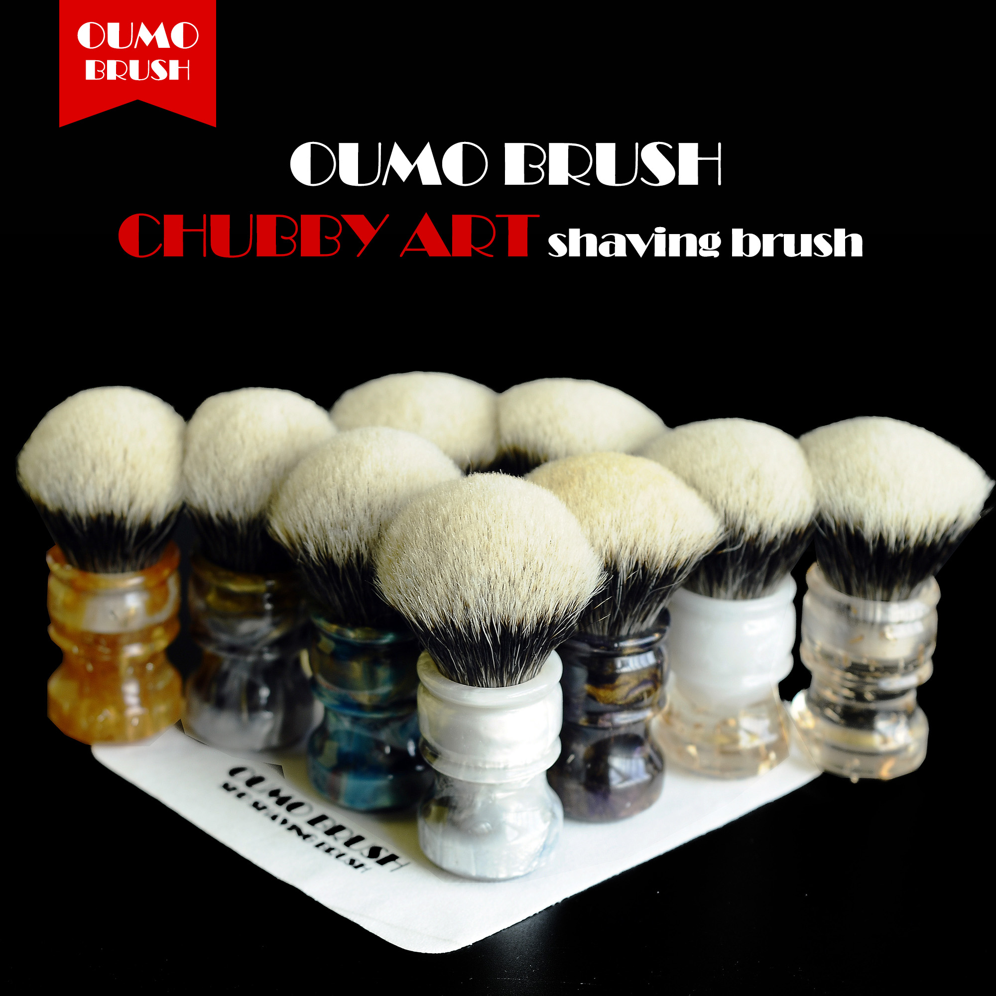 OUMO BRUSH- 2019/8/1 CHUBBY  Art Shaving Brush With SHD Bulb Manchuria Badger Knot Gel City 26MM