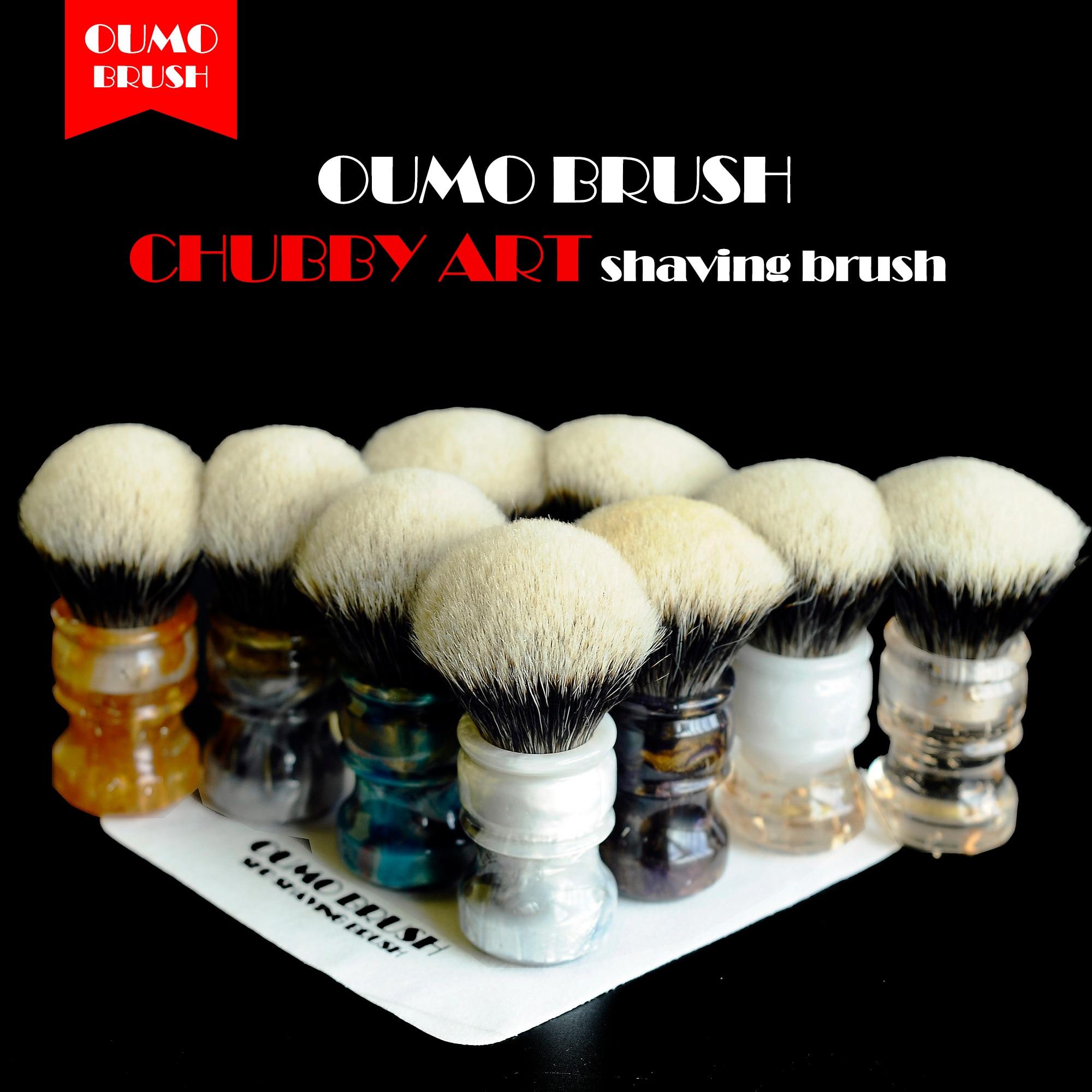 OUMO BRUSH-  CHUBBY  Art Shaving Brush With SHD Bulb Manchuria Badger Knot Gel City 26MM