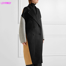 2019 autumn and winter new Korean version of the retro double-breasted knee long section contrast color double-faced woolen coat