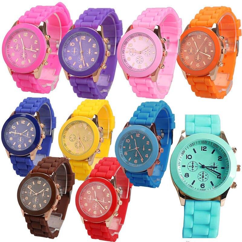 Часы наручные для девочек и мальчиков, кварцевые с желеобразным циферблатом, карамельные цвета, силиконовые, с круглым циферблатом, для сту...