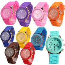 Girl Boy Quartz Wrist Watch with Jelly Candy Color Silicon Watchband Round Dial