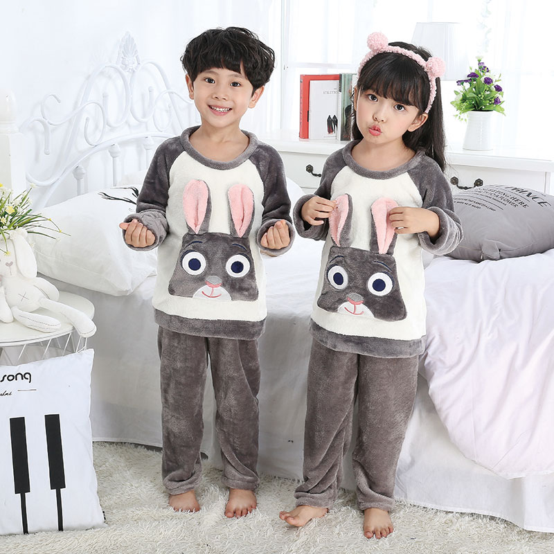 Children Christmas deer Pajamas Warm Flannel Sleepwear Girls Loungewear Coral Fleece Kids pijamas Homewear Winter Pyjamas e453