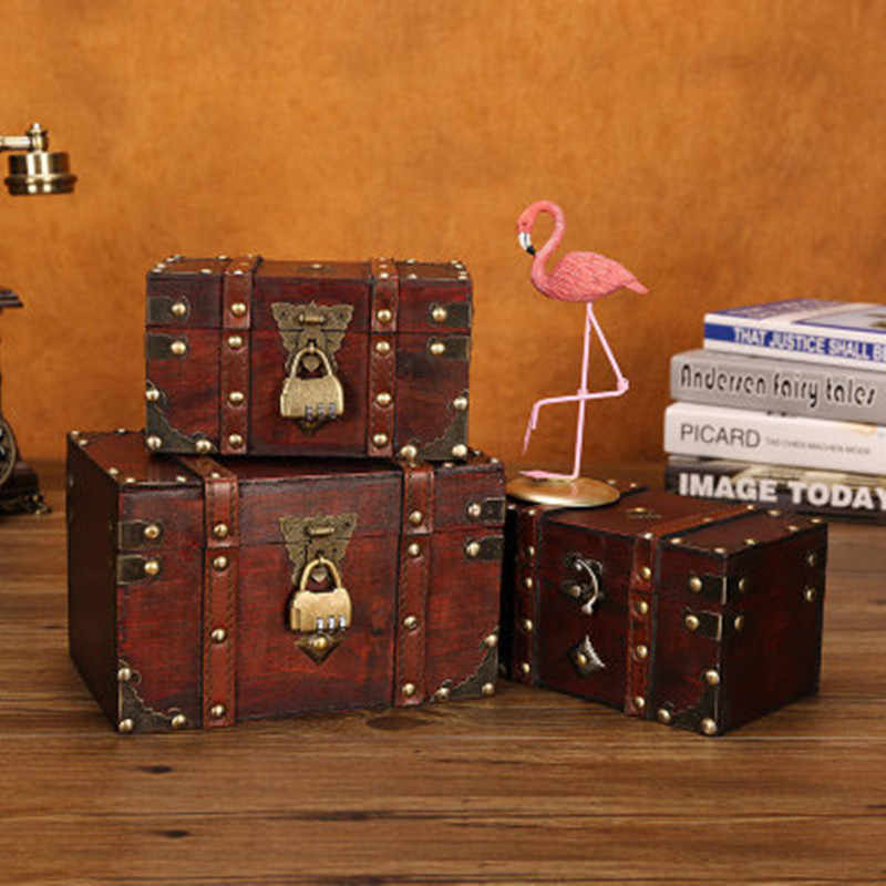 Retro ทรวงอกสมบัติล็อค VINTAGE ไม้กล่องเก็บสไตล์โบราณเครื่องประดับสำหรับตู้เสื้อผ้ากล่องเครื่องประดับ Trinket กล่อง