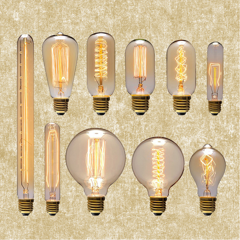YNL Vintage Edison Bulb E27 220V Incandescent Light Bulb A19 ST64 G80 G95 T45 T10 40W Decorative Lighting Filament Bulb Edison