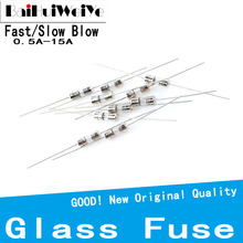 10PCS/LOT 3.6*10 Glass fuse Fast/Slow blow 250V 0.1A 0.5A 1A 2A 3A 3.15A 4A 5A 6.3A 8A 10A 15A With a pin legs F/T type