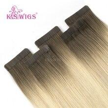 K.S WIGS extensiones de cabello humano con cinta adhesiva de doble estiramiento, extensiones de cabello Remy de Color degradado, 16, 20, 24