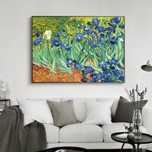 Famous Oil Paintings Iris Flower By Van Gogh Impressionist Artist Wall Art Replication Posters for Living Room Cuadros