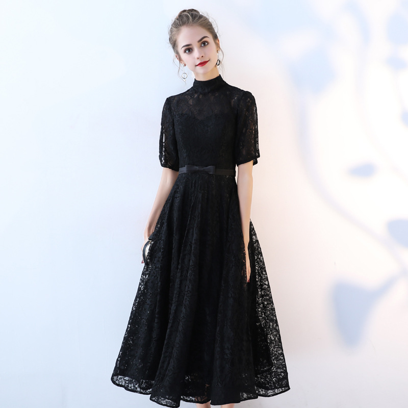 Women's lace event prom gown evening party dress black red short lace formal prom event dress