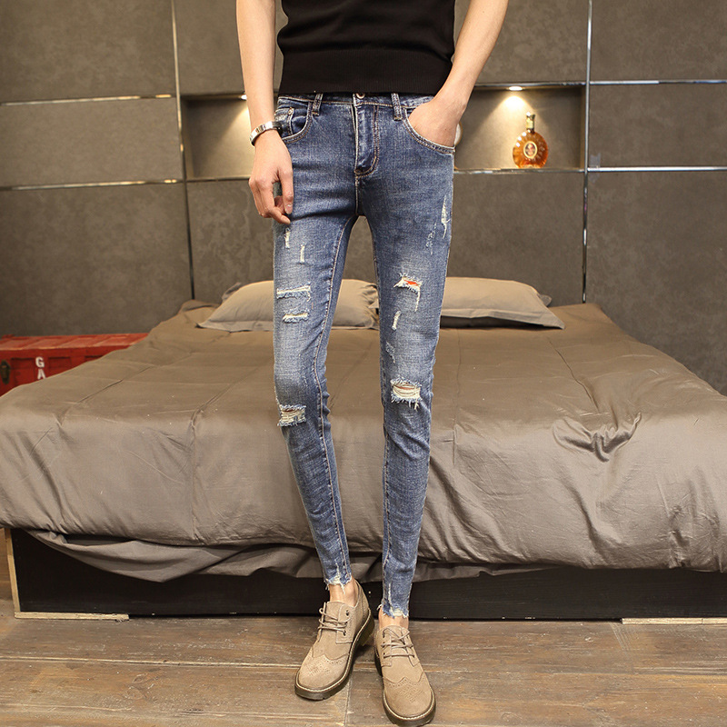 2019 Spring New Style Fashion Teenager Jeans Men Fashion Casual Korean-style Slim Fit Students Small Feet Long Pants