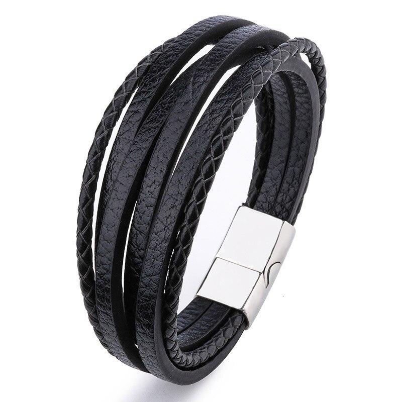 Мужской браслет, многослойный кожаный браслет с магнитной застежкой, Воловья кожа, плетеный многослойный браслет, модный браслет на руку, pulsera hombre - Окраска металла: 6