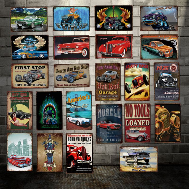 DecorMan HOT ROD Garage Truck American Car TIN SIGN Custom wholesale Mural Paintings Bar PUB Decor LT 1852 in Plaques Signs from Home Garden