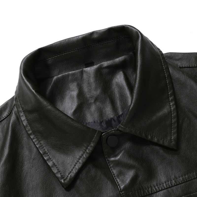 2019 jesień i zima nowych mężczyzna motocykl slim, skórzana męska jednolity kolor jednorzędowy kurtka J770