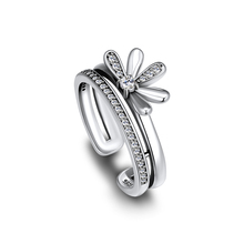 Rings CKK Original Genuine 925 Sterling Silver Floral Daisy Ring Compatible With Europe Jewelry Fashion Wedding Bands