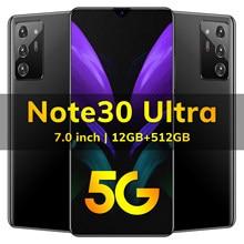 4G 5G Netwerk Note30 Ultra 7.0 Inch Hd Mobiele Telefoons Android 10.0 Systeem Deca Core Bluetooth Wifi Dual sim-kaart Smartphones