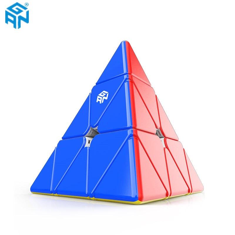 GAN piramit 3x3x3 manyetik piramit küp Stickerless gelişmiş çekirdek konumlandırma mıknatıslar üçgen hızlı Gan küp oyuncaklar çocuklar için