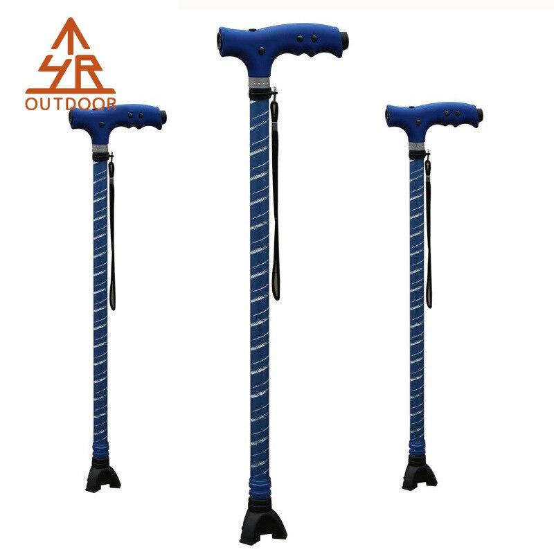 Yuetor Outdoor Aluminum Alloy Belt LED Light Rubber Anti-slip Booties Massage Handle Telescopic Walking Stick For The Elderly