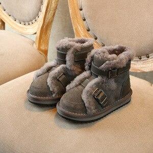 Image 3 - Inverno couro genuíno quente meninos & meninas sapatos crianças nova fivela de couro bota quente pelúcia ao ar livre crianças neve bota criança che06