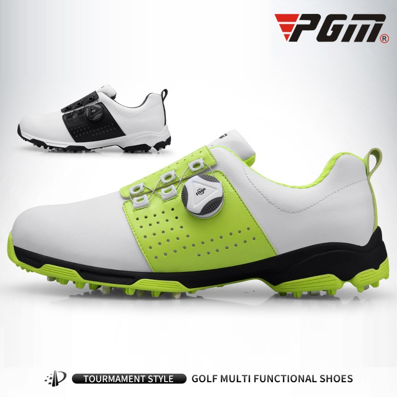 Image 2 - Pgm Golf Shoes Men Leather Waterproof Sneakers Anti slip  Automatic Shoelace Soft Comfort Breathable Sport Golf Training  ShoesGolf Shoe