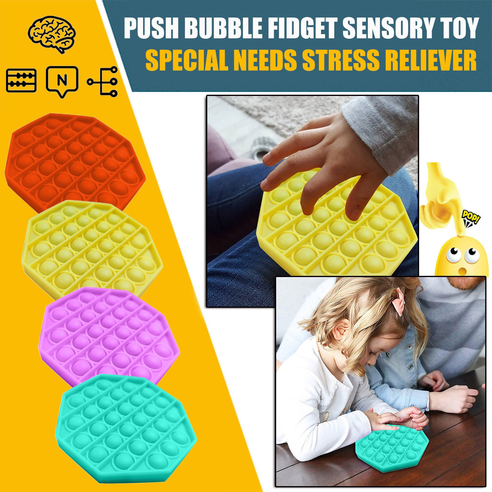 Figet Toys Stress-Ball Autism Soft-Squeeze-Toy Push Bubble Popit Special Kids Sensory-Toy img3