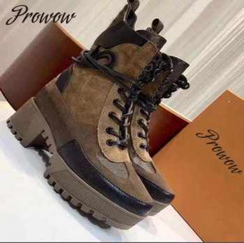Prowow Khaki Genune Leather Gladiator Lace Up Platform Autumn Winter Boots Round Toe Thick Heel High Heel Boots Shoes Women haraval handmade winter woman long boots luxury flock round toe soft heel shoes elegant casual warm retro buckle solid boots 289