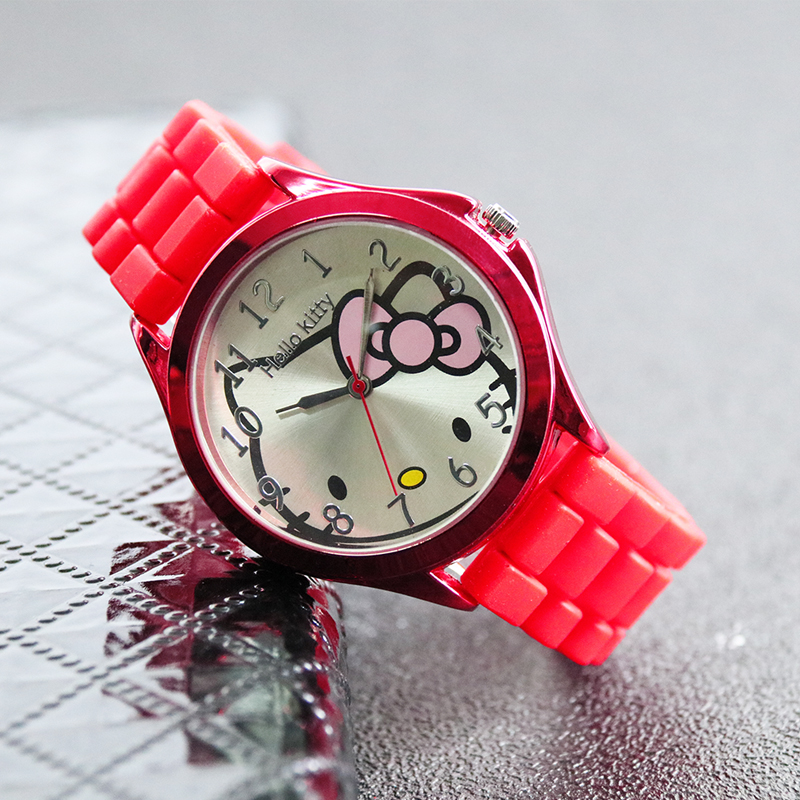 Hello Kitty Cat Fashion Casual Girl Watch Kids Cute Silicone Strap Watches Lovely  Children Quartz Wristwatch Clock