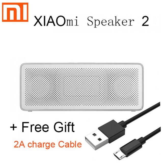 Alto falante portátil xiaomi 2 mi, som estéreo, caixa quadrada, metal, sem fio, para iphone, meizu, huawei, lenovo oneplus