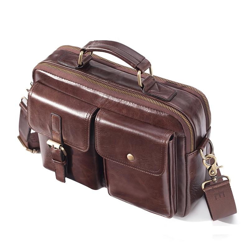 Brand New Cowhide Leather Messenger Bag Men Genuine Leather Handbag Male Travel Pad Shoulder Bag for Men Office Briefcase Totes