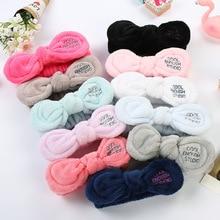 Solid Velvet Rabbit Ears Headbands for Women Girls Wash Face Makeup Hairband Hair Accessories Cool Enough Studio Letter Turban