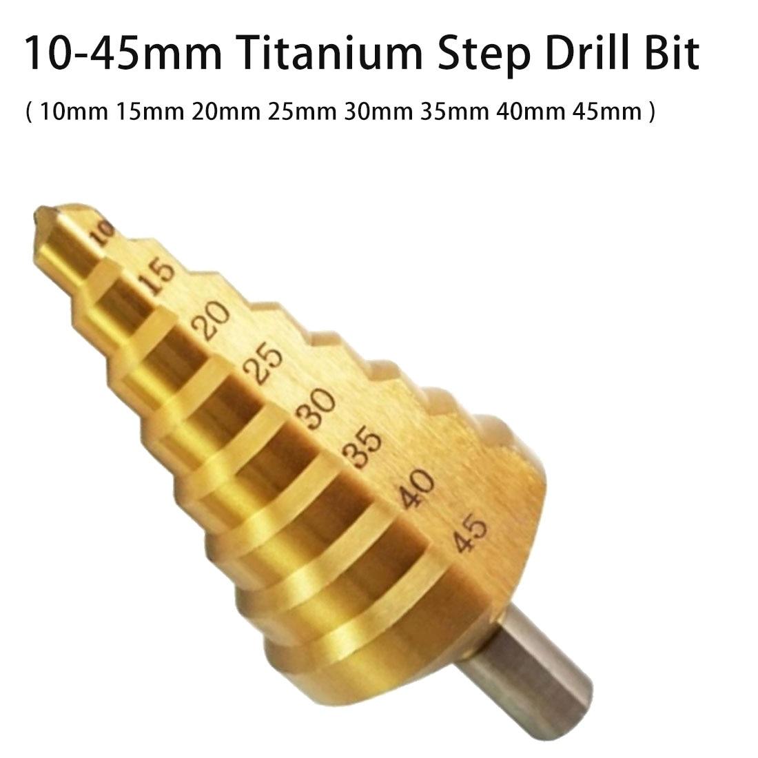 Titanium Step Drill 8 Step Cone Drill Bit HSS Hole Groove Metal Wood Cut 10mm 15mm 20mm 25mm 30mm 35mm 40mm 45mm For Metal/Wood